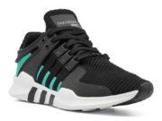 Adidas EQT Running Support 93 черные с зеленым - фото спереди