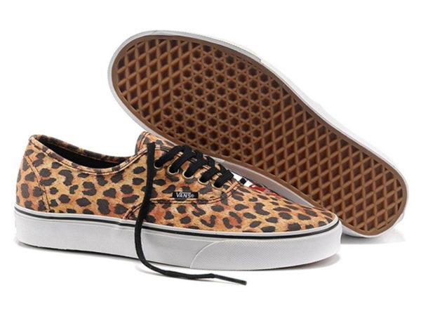Кеды Vans Authentic женские леопардовые бежевые
