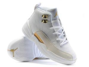 Кроссовки Nike Air Jordan 12 Retro белые мужские - фото спереди