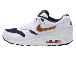 Кроссовки Nike Air Max 87 белые с золотым женские - фото слева