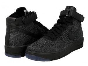 Кроссовки Nike Air Force 1 Ultra Flyknit Mid серые с черным мужские - общее фото