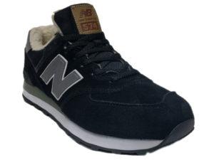 Зимние New Balance 574 черные с серым - фото спереди