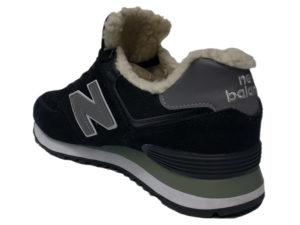 Зимние New Balance 574 черные с серым - фото сзади