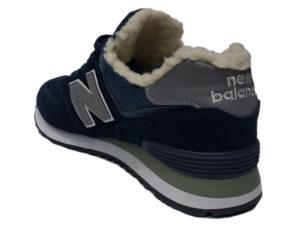 Зимние New Balance 574 темно-синие с серым - фото сзади