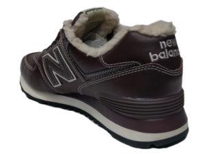 Зимние New Balance 574 Leather коричневые с белым - фото сзади