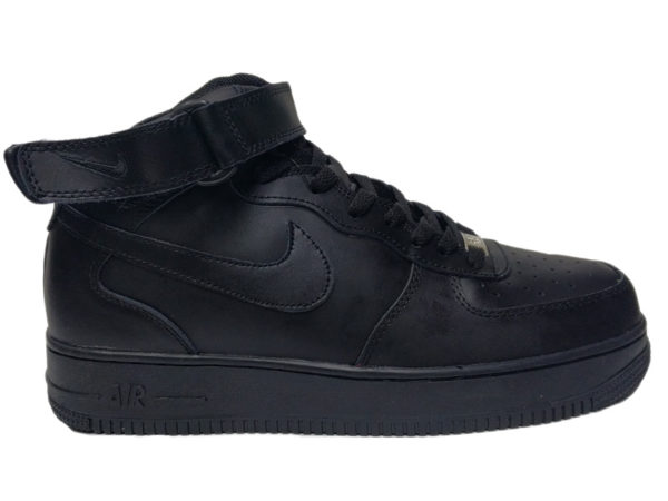 Зимние Nike Air Force 1 Low Leather Fur черные мужские и женские