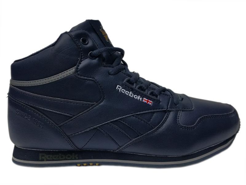 Зимние Reebok Classic Leather темно-синие