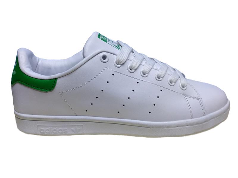 Adidas Stan Smith Leather белые с зеленым