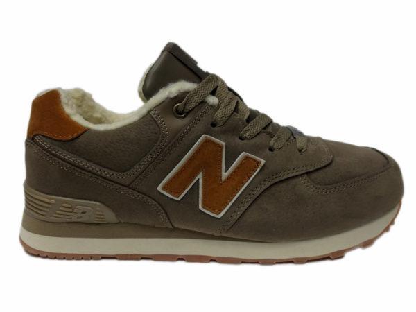 Зимние New Balance 574 коричневые с бордовым