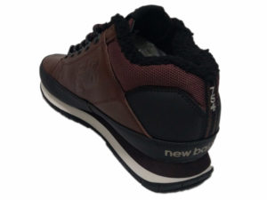 Зимние New Balance 754 Leather шоколадные с коричневым - фото сзади
