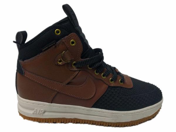 Зимние Nike Lunar Force 1 Leather шоколадные с черным