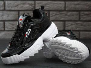 Fila Disruptor 2 черные с белым кожаные