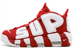 Nike Air More Uptempo X Supreme красные с белым