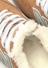 Зимние NEW BALANCE 574 с мехом замша бежевые с серым (35-39)
