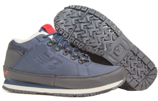 Кроссовки New Balance 754 с мехом кожаные синие с черным 40-44