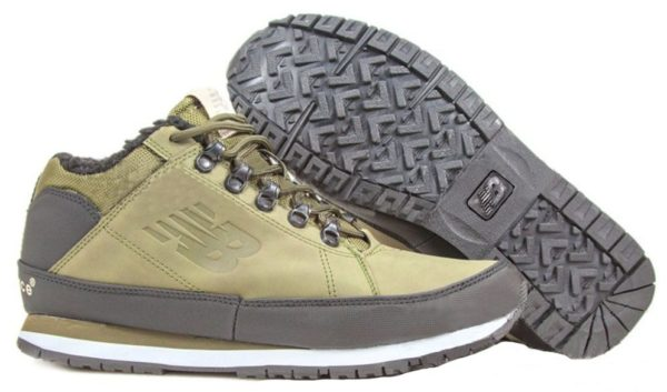 Кроссовки New Balance 754 с мехом кожаные зеленые 40-44