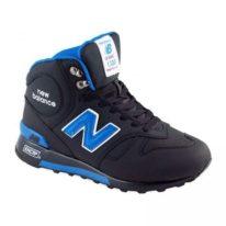 New Balance 1300 нубук с натуральным мехом черные с синим (36-44)