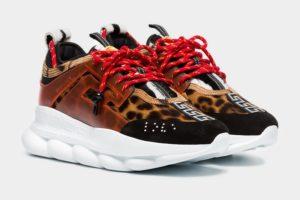 Кроссовки Versace Chain Reaction леопард 35-44