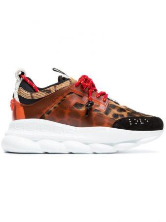Оранжевые кроссовки Versace