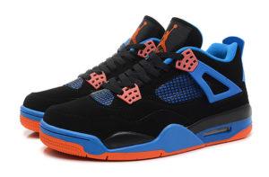 Nike Air Jordan 4 сине-черные с оранжевым (35-45)