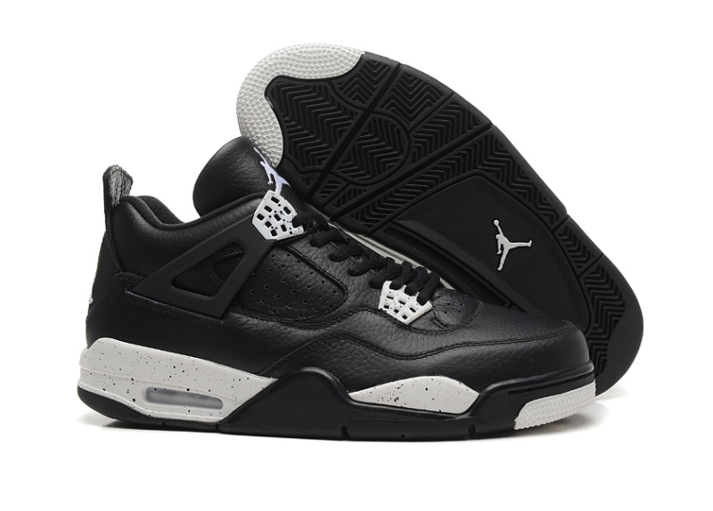 Air Jordan 4 Retro черные с белым кожа (40-45)