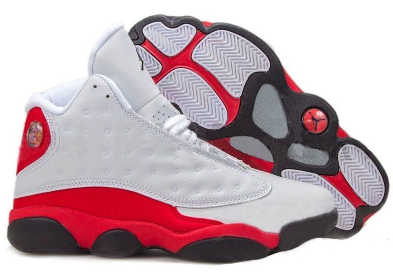 Air Jordan 13 Retro белые с красным и черным (40-45)