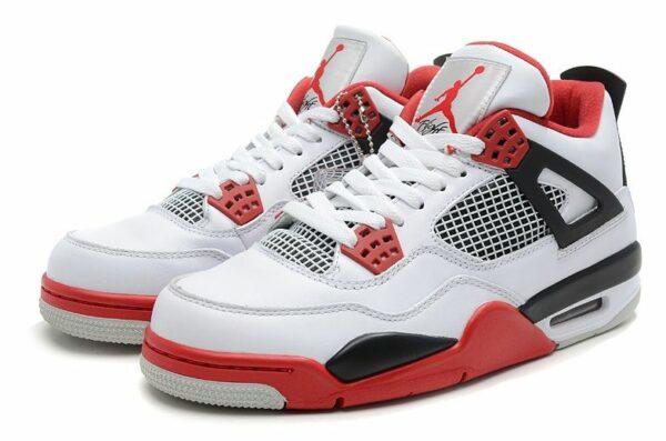 Air Jordan 4 Retro белые с красным и черным (39-45)