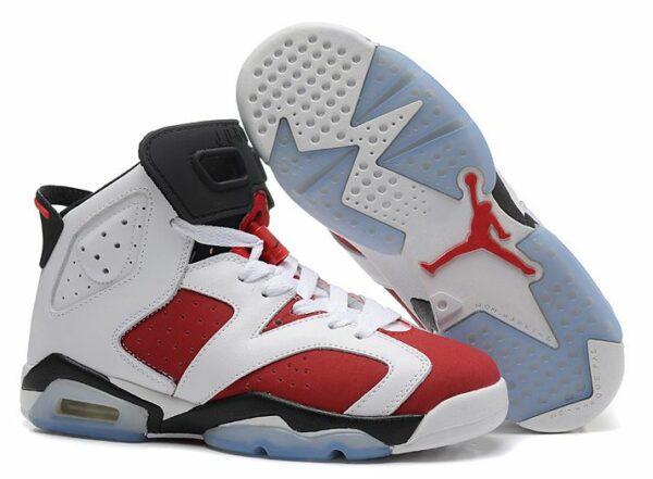 Nike Air Jordan 6 Retro белые с красным (35-44)