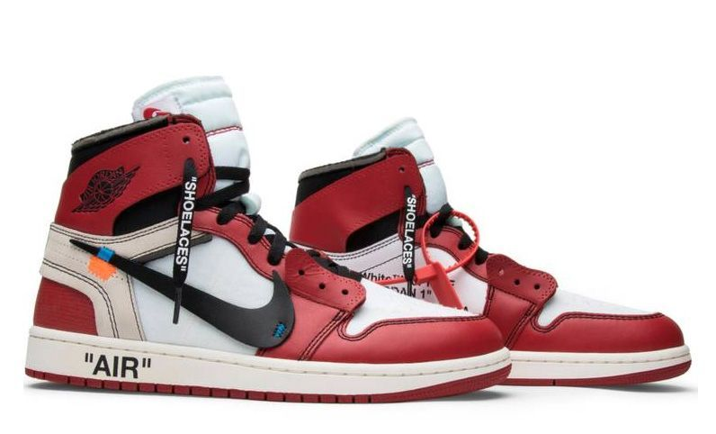 Off White x Air Jordan 1 Retro красные с черным и белым (40-44)