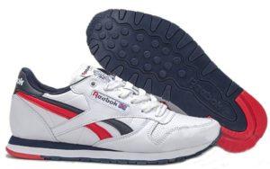 Reebok Classic Leather белый синие с красным (40-44)