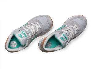 New Balance 574 замша-сетка серые с зеленым (36-41)