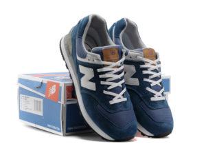 Кроссовки New Balance 574 синие с белым (35-44)