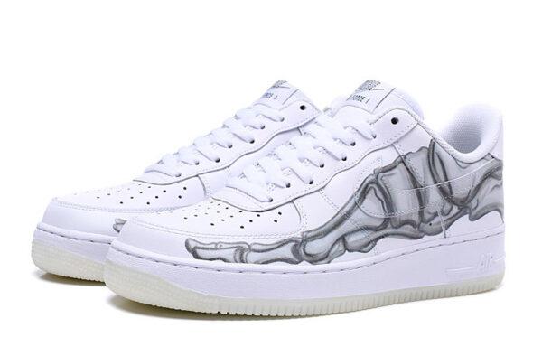 Nike Air Force 1 07 LV8 белые-скелет кожаные мужские-женские (35-44)