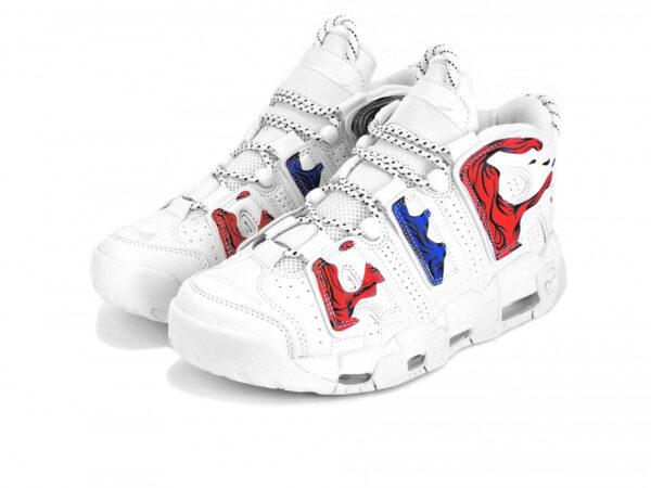 Nike Air More Uptempo белые с красно-синим (40-45)