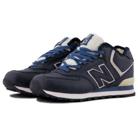 Зимние New Balance 574 с мехом синие (40-45)