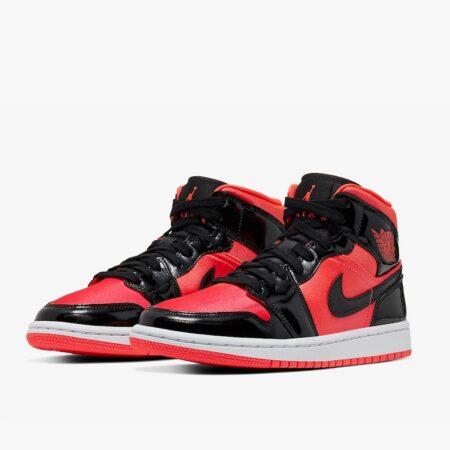 Nike Air Jordan 1 Mid Bright красно-черные кожаные мужские (40-45)