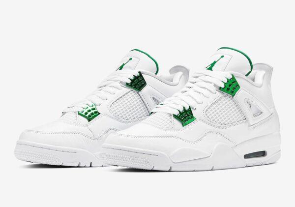 Nike Air Jordan 4 Green Metallic белые кожаные женские (35-39)