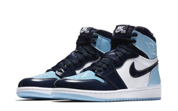 Nike Air Jordan 1 Blue Chill сине-бело-голубые кожаные мужские-женские (35-44)