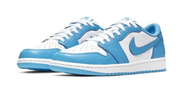 Nike Air Jordan 1 Low University Blue бело-голубые кожаные (35-39)